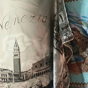 Vintage Accessories - VTG 2 Venice scarfs 1 full color 1 black and white